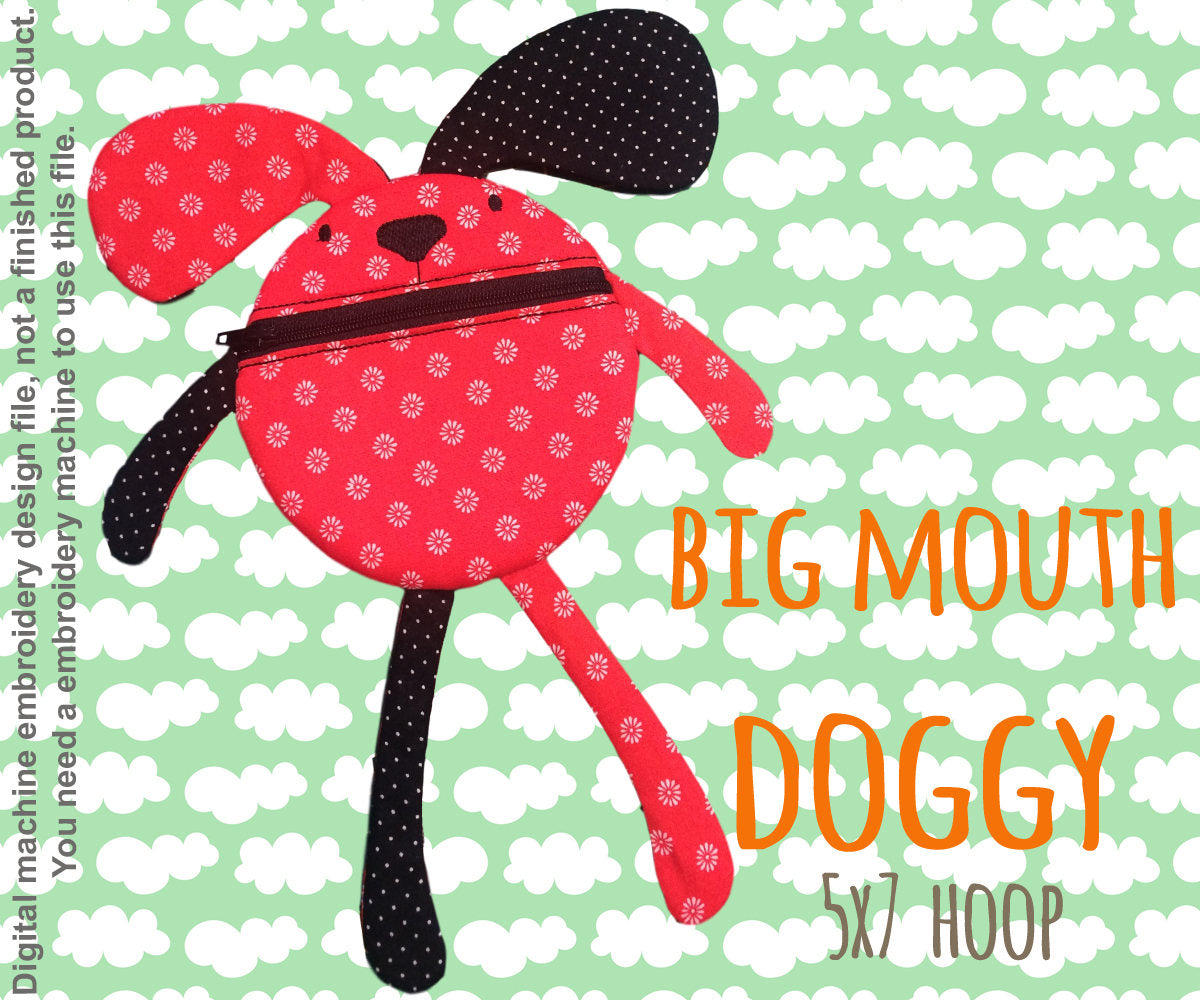 Funny pouch animal - DOGGY - 5x7 hoop - ITH - In The Hoop - Machine Embroidery Design File, digital download millymellydesigns