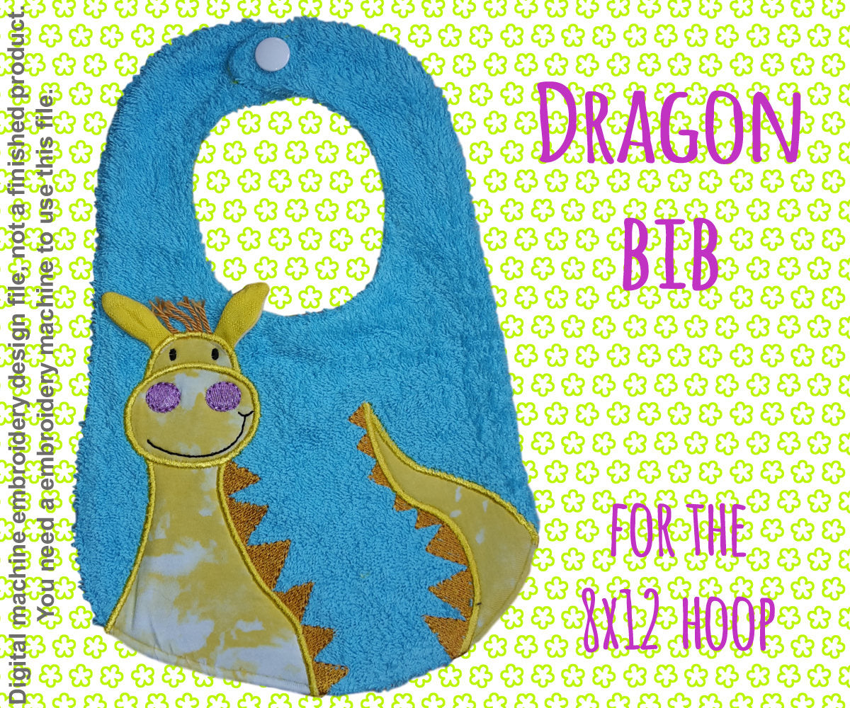 8x12 hoop - BIB - DRAGON - Machine Embroidery Design File, digital download millymellydesigns