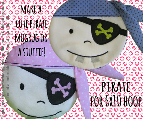 Pirate coaster/mug-rug OR softie/pillow - 6x10 hoop - ITH - In The Hoop - Machine Embroidery Design File, digital download millymellydesigns