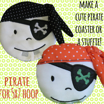 Pirate coaster/mug-rug OR softie/pillow - SET of 5 sizes - ITH - In The Hoop - Machine Embroidery Design File, digital download millymellydesigns