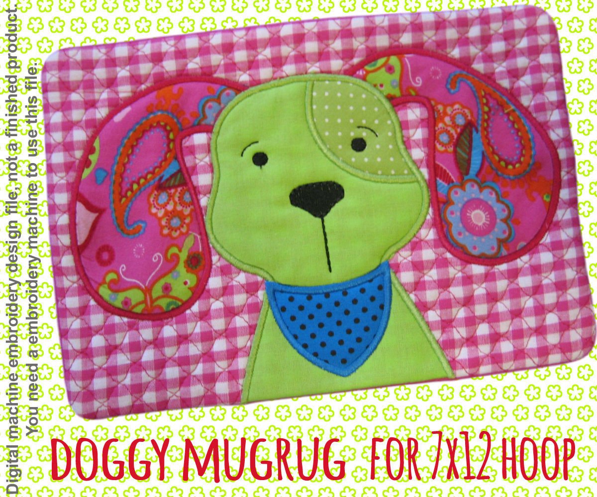 DOGGY mug rug - 7x12 hoop - In The Hoop - Machine Embroidery Design File, digital download millymellydesigns