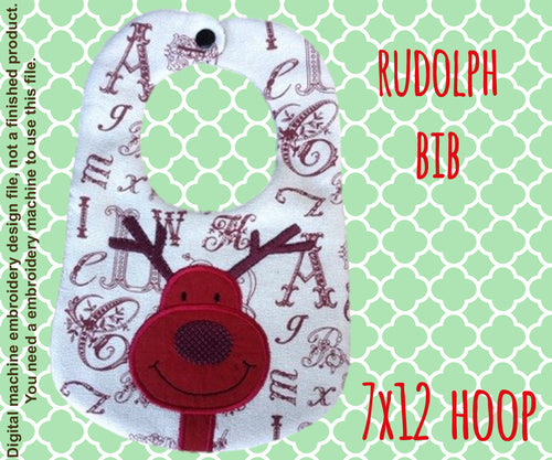 7x12 hoop - BIB - Rudolph - Machine Embroidery Design File, digital download millymellydesigns