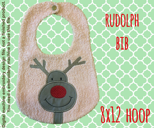 8x12 hoop - BIB - Rudolph - Machine Embroidery Design File, digital download millymellydesigns