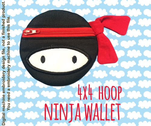 NINJA wallet pouch - 4x4 hoop - ITH - In The Hoop - Machine Embroidery Design File, digital download millymellydesigns