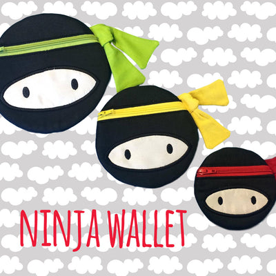 NINJA wallet pouch - 6x10 hoop - ITH - In The Hoop - Machine Embroidery Design File, digital download millymellydesigns