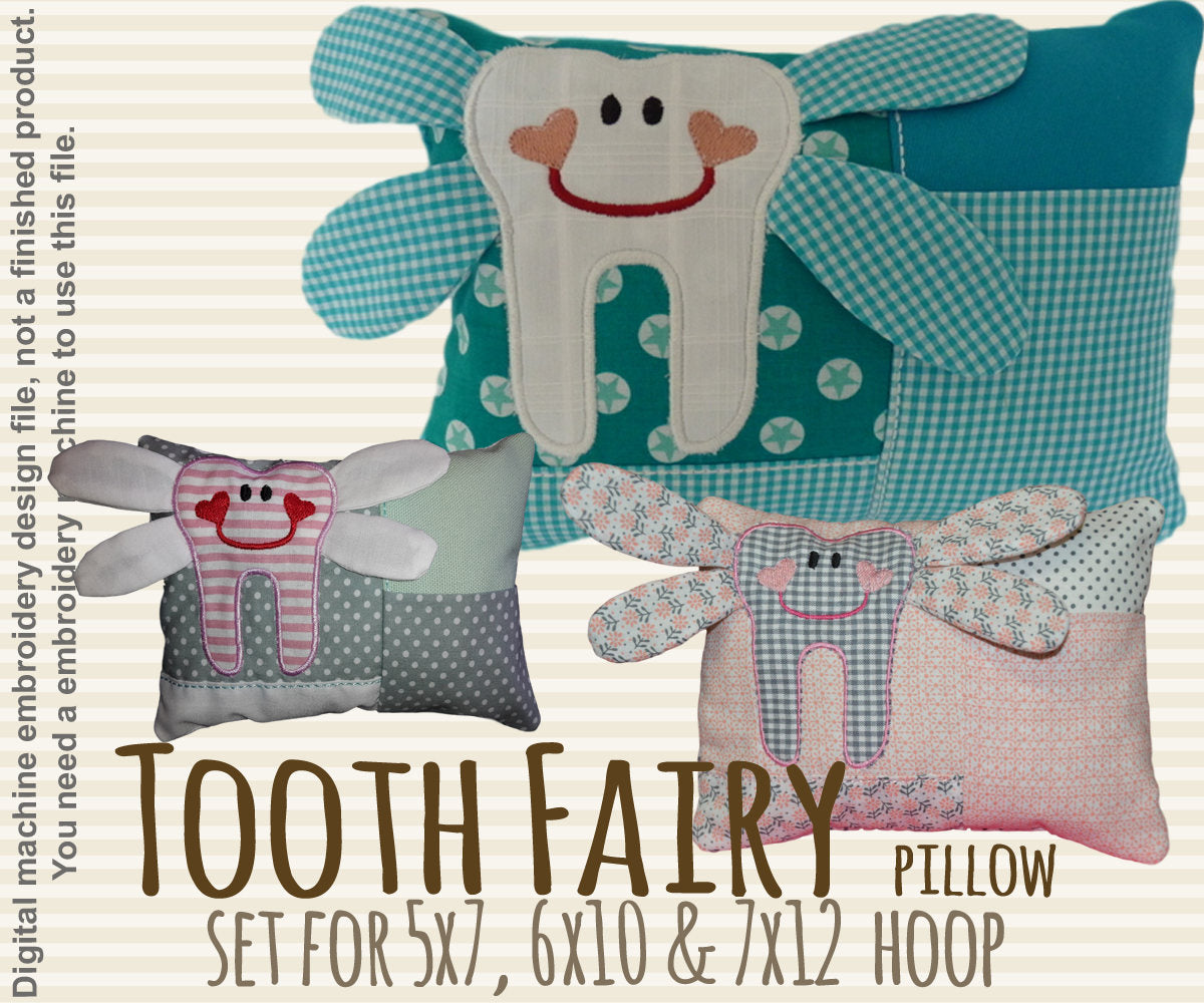 Tooth fairy pillow SET - 5x7, 6x10 & 7x12 hoop - ITH - In The Hoop - Machine Embroidery Design File, digital download millymellydesigns
