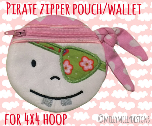PIRATE wallet pouch - 4x4 hoop - ITH - In The Hoop - Machine Embroidery Design File, digital download millymellydesigns