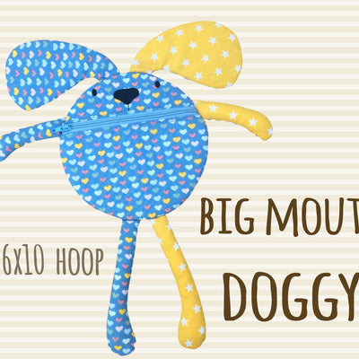 Funny pouch animal - DOGGY - 6x10 hoop - ITH - In The Hoop - Machine Embroidery Design File, digital download millymellydesigns