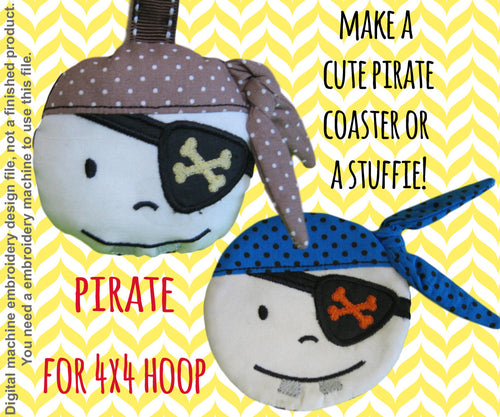 Pirate coaster OR keyfob- 4x4 hoop - ITH - In The Hoop - Machine Embroidery Design File, digital download millymellydesigns