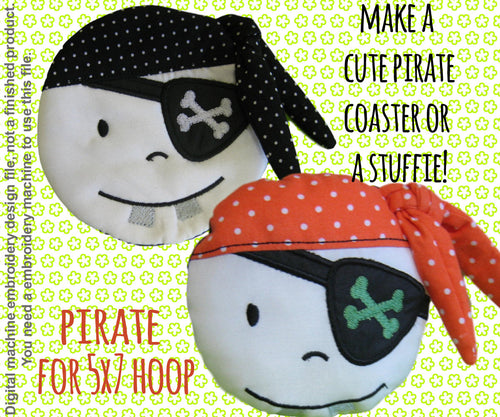 Pirate coaster/mug-rug OR softie - 5x7 hoop - ITH - In The Hoop - Machine Embroidery Design File, digital download millymellydesigns
