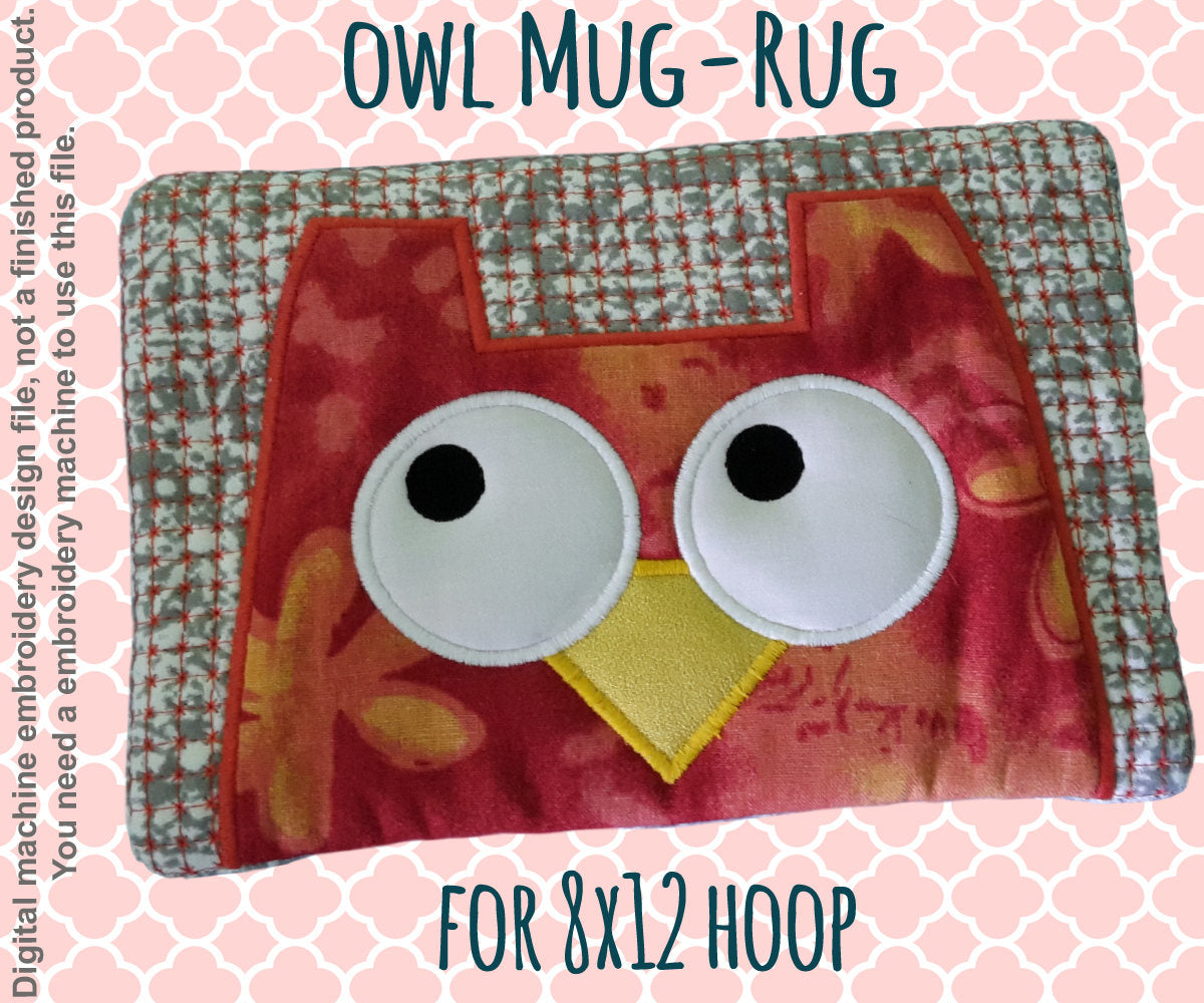 OWL mug rug - 8x12 hoop - In The Hoop - Machine Embroidery Design File, digital download millymellydesigns