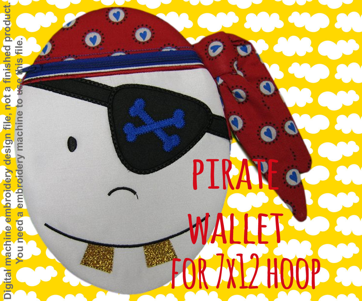PIRATE oval wallet pouch - 7x12 hoop - ITH - In The Hoop - Machine Embroidery Design File, digital download millymellydesigns