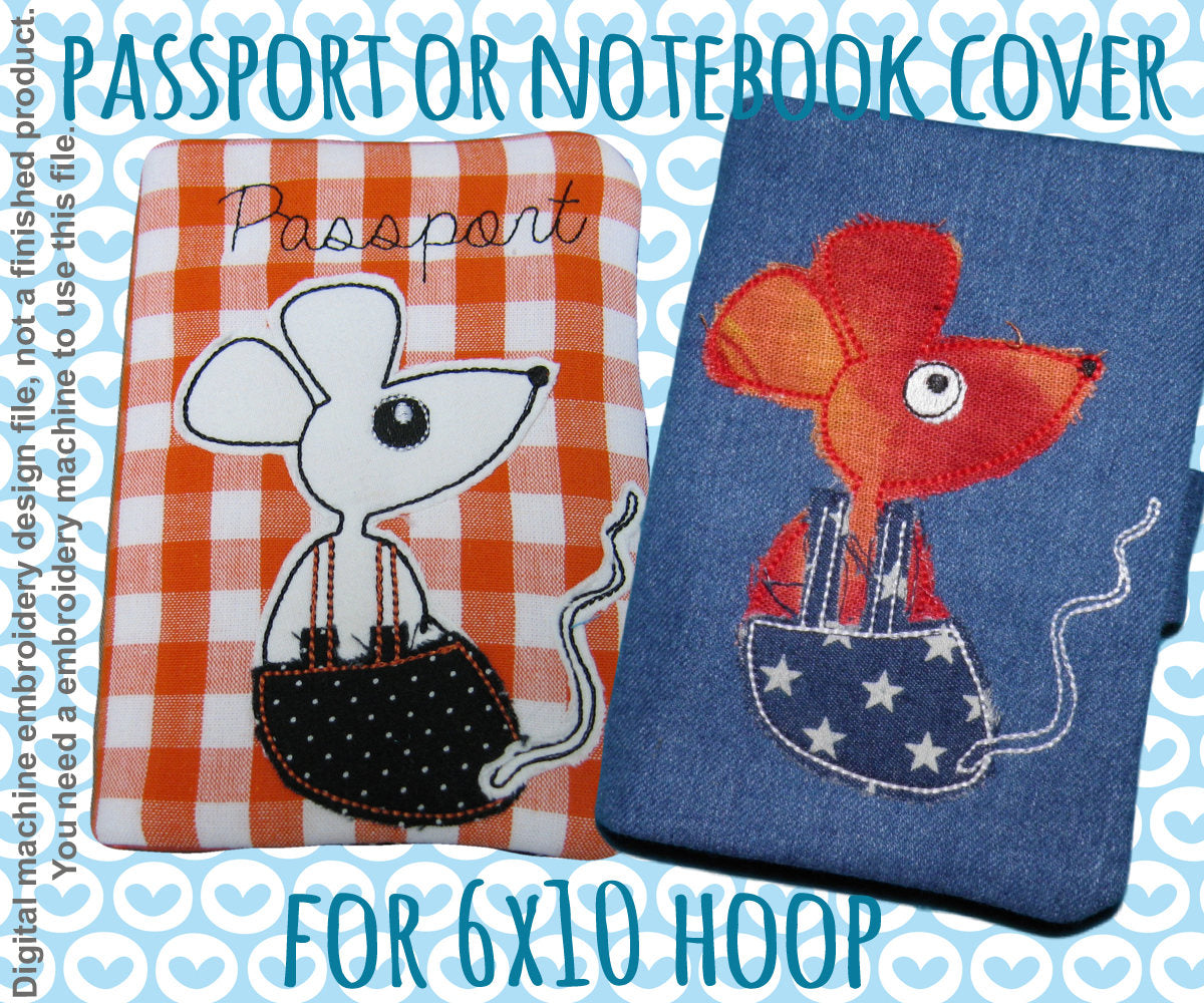 Passport or notebook cover - cute mouse - 6x10 hoop - ITH - In The Hoop - Machine Embroidery Design File, digital download millymellydesigns