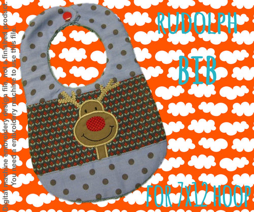 7x12 hoop - BIB - Rudolph version 2 - Machine Embroidery Design File, digital download millymellydesigns