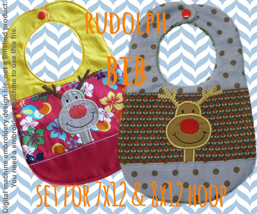 SET 7x12 & 8x12 hoop - BIB - Rudolph version 2 - Machine Embroidery Design File, digital download millymellydesigns