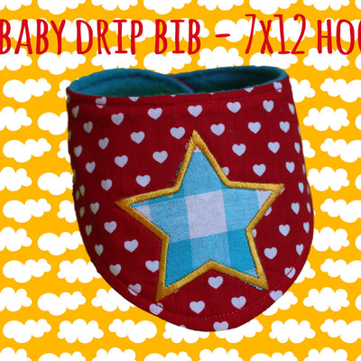 Drip bib - Star - 7x12 hoop - ITH embroidery design file - baby drib bip - bandana millymellydesigns