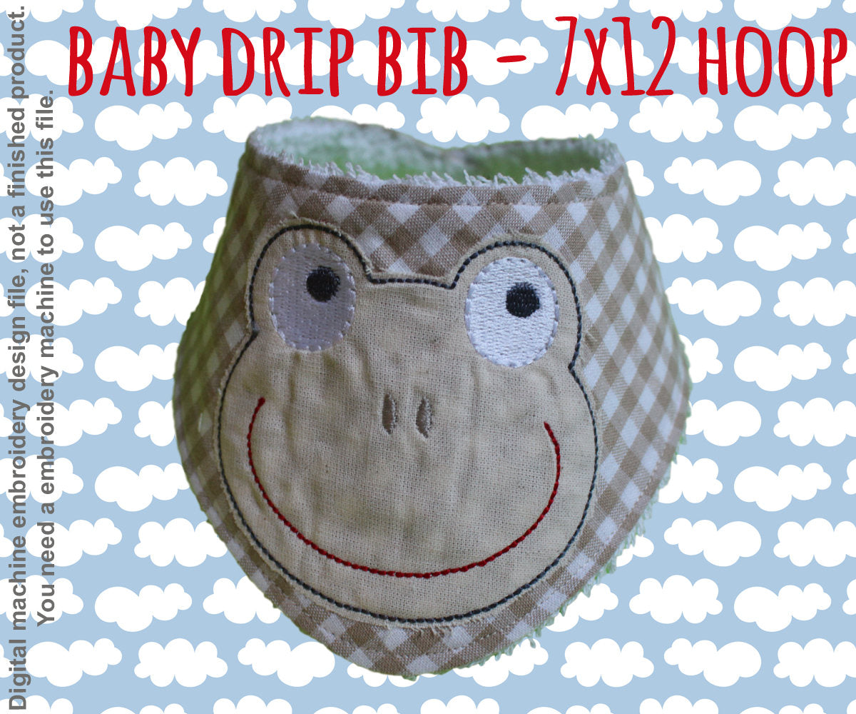 Drip bib - frog - 7x12 hoop - ITH embroidery design file - baby drib bip - bandana millymellydesigns