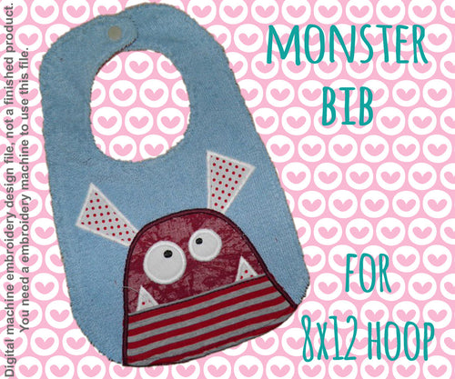 8x12 hoop - BIB - Monster - Machine Embroidery Design File, digital download millymellydesigns
