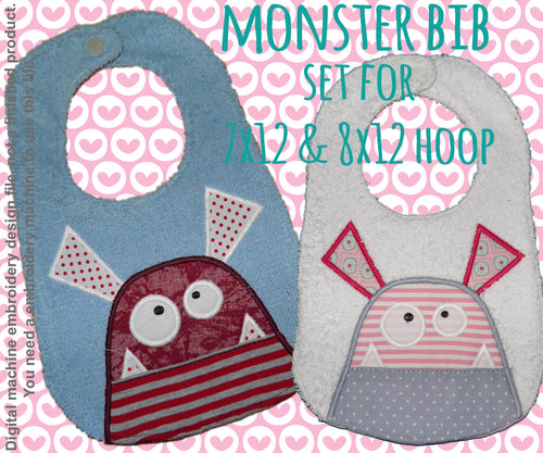 SET 7x12 & 8x12 hoop - BIB - Monster - Machine Embroidery Design File, digital download millymellydesigns