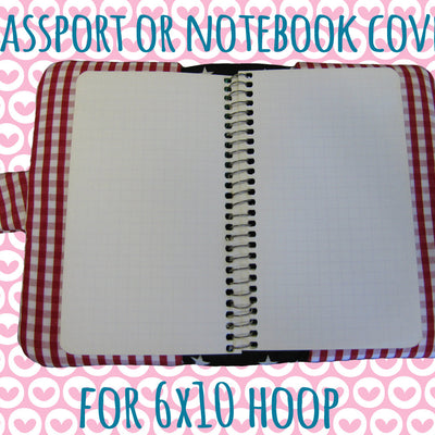 Passport or notebook cover - cute mouse - 6x10 hoop - ITH - In The Hoop - Machine Embroidery Design File, digital download - millymellydesigns