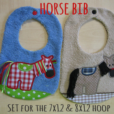 7x12 & 8x12 hoop - BIB set - HORSE - Machine Embroidery Design File, digital download millymellydesigns