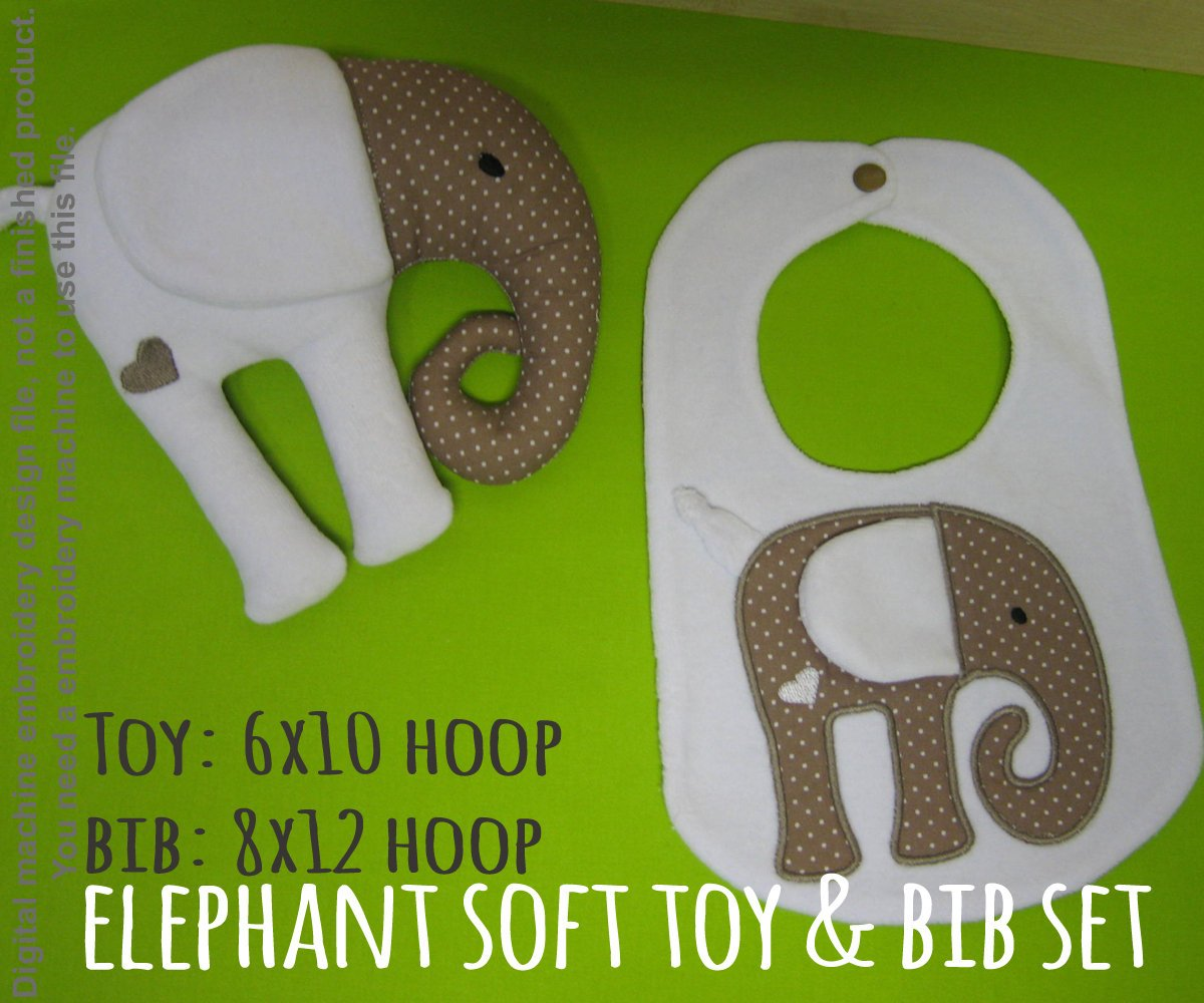 Elephant matching set! Machine Embroidery Design Files, digital download millymellydesigns