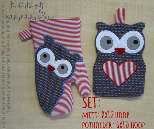 OWLS kitchen set! Machine Embroidery Design Files, digital download millymellydesigns