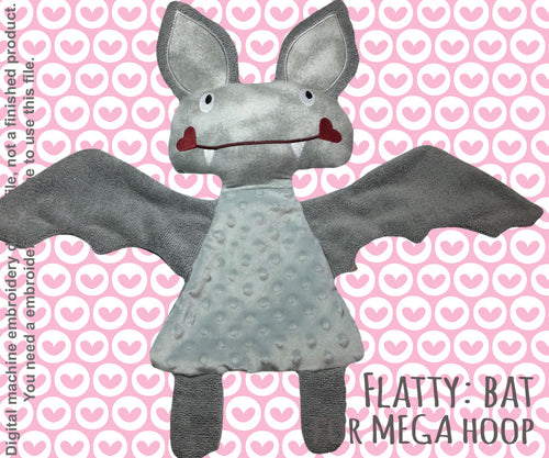 Cute BAT soft toy MEGA hoop, Baby Toy Blanket comfy, stuffed toy, stofie, ITH, In The Hoop, Machine Embroidery Design File, digital download millymellydesigns