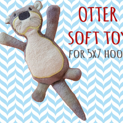 OTTER softie toy - 5x7 hoop - ITH - In The Hoop - Machine Embroidery Design File, digital download millymellydesigns