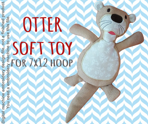 OTTER softie toy - 7x12 hoop - ITH - In The Hoop - Machine Embroidery Design File, digital download millymellydesigns