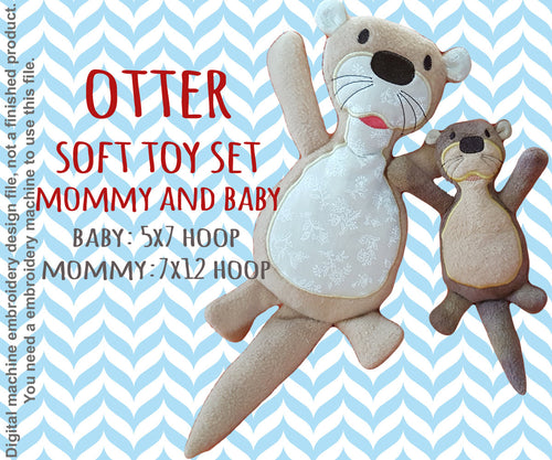 OTTER softie toy SET Mommy and Baby- 5x7 and 7x12 hoop - ITH - In The Hoop - Machine Embroidery Design File, digital download millymellydesigns