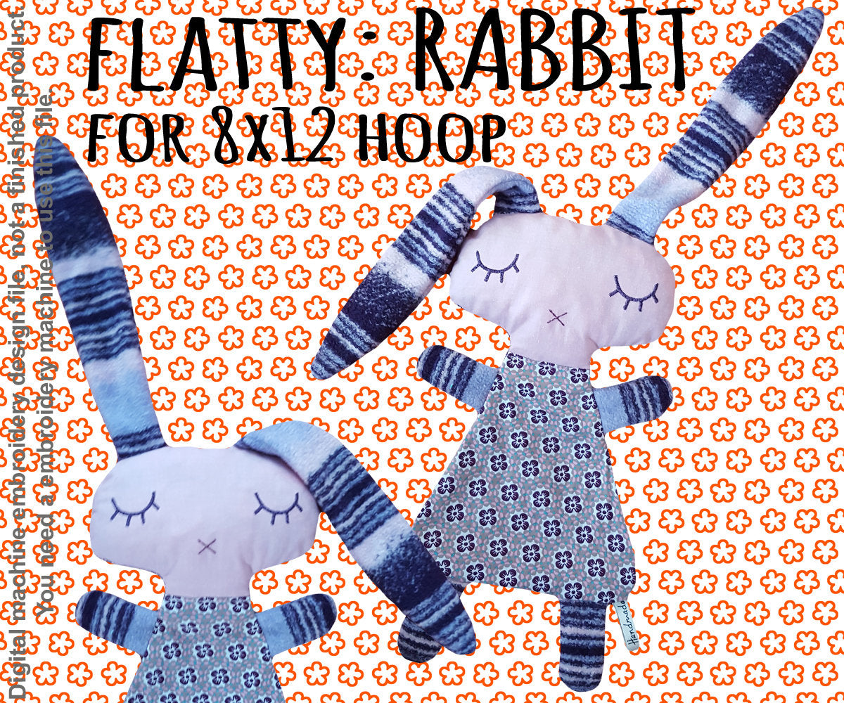 Cute RABBIT soft toy 8x12 hoop, Baby Toy Blanket comfy, toy, stofie, ITH, In The Hoop, Machine Embroidery Design File, digital download millymellydesigns