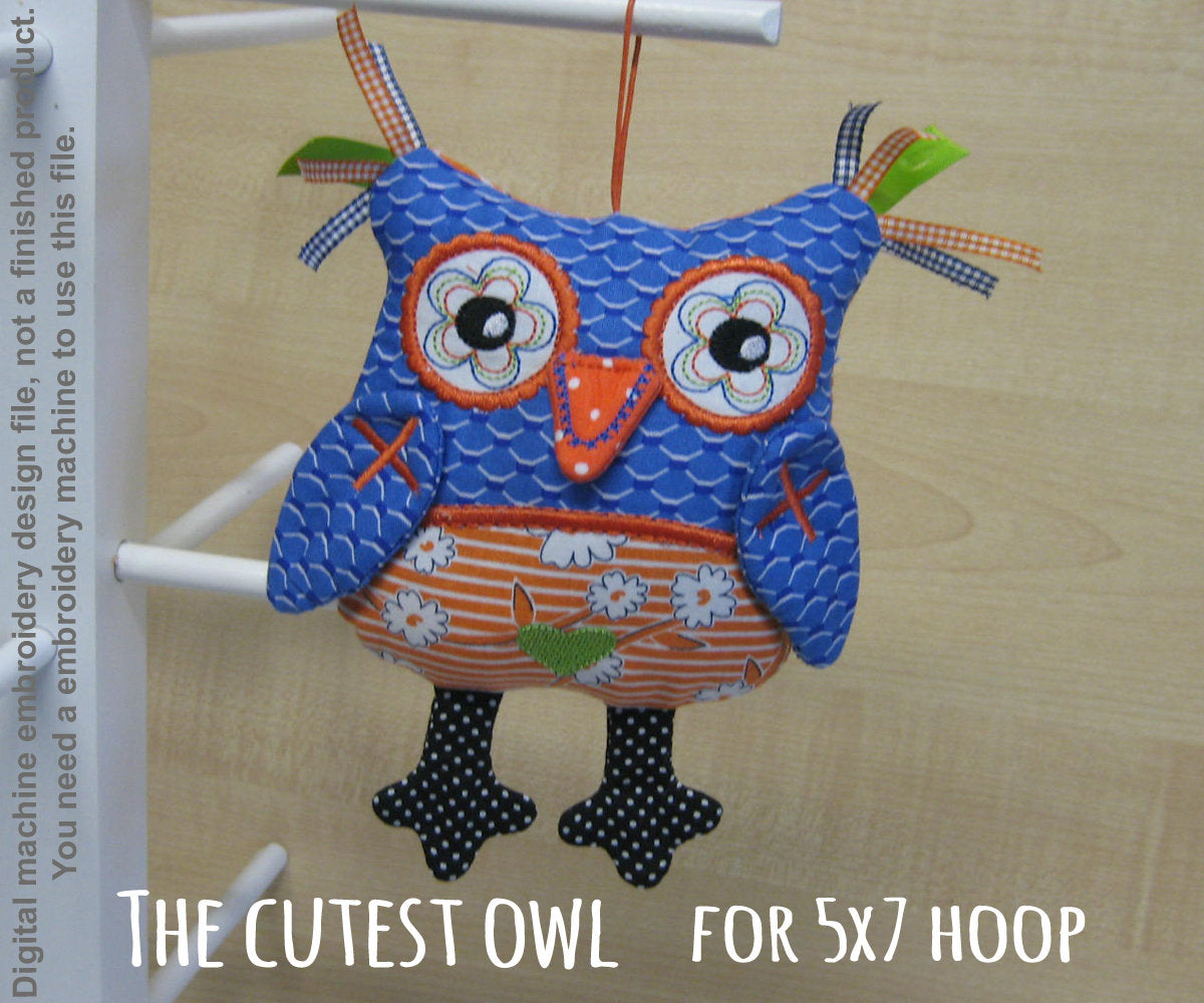 Cute OWL soft toy 5x7 hoop, ITH embroidery design, digital download millymellydesigns