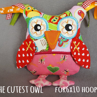 Cute OWL soft toy 6x10 hoop, ITH embroidery design, digital download millymellydesigns