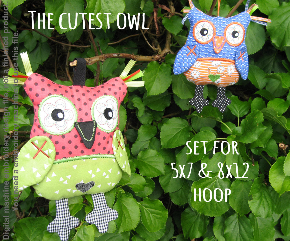 Cute OWL SET soft toys 5x7 and 8x12 hoop, ITH embroidery design, digital download millymellydesigns