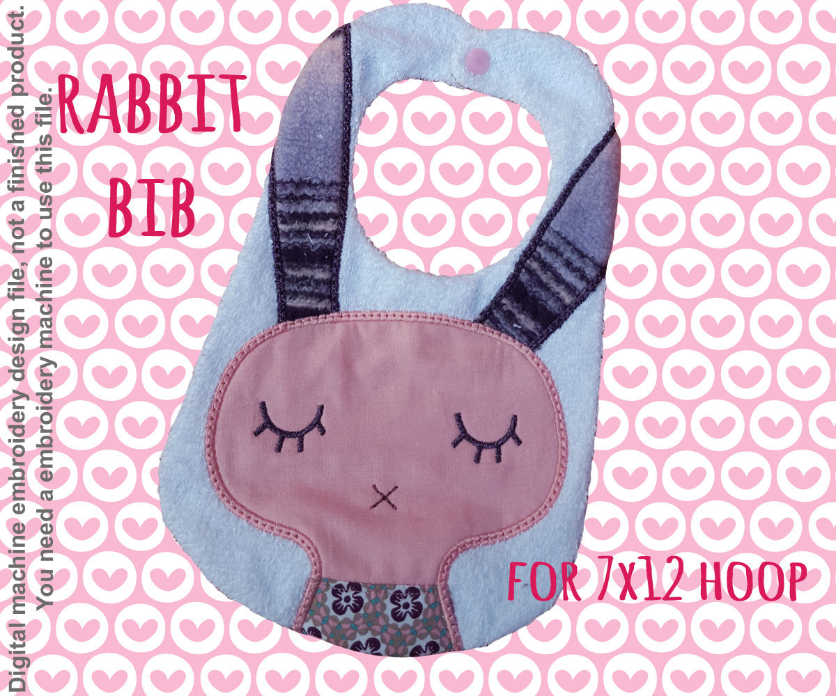 RABBIT bib - ITH embroidery design - 7x12 hoop - Machine Embroidery Design File, digital download millymellydesigns