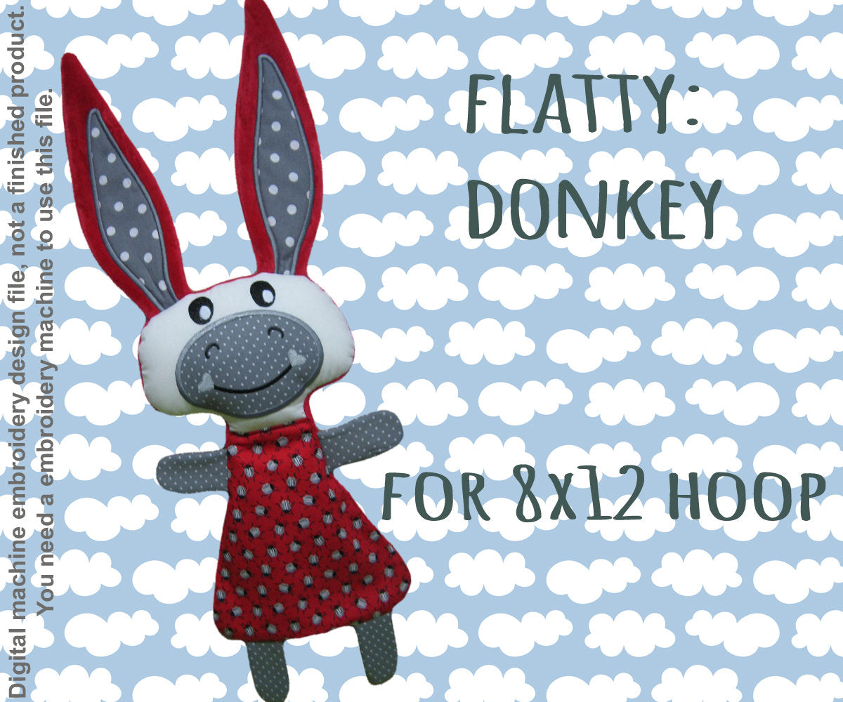 Cute DONKEY soft toy 8x12 hoop, Baby Toy Blanket comfy, toy, stofie, ITH, In The Hoop, Machine Embroidery Design File, digital download millymellydesigns