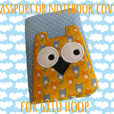 Passport or notebook cover - OWL - 6x10 hoop - ITH - In The Hoop - Machine Embroidery Design File, digital download millymellydesigns