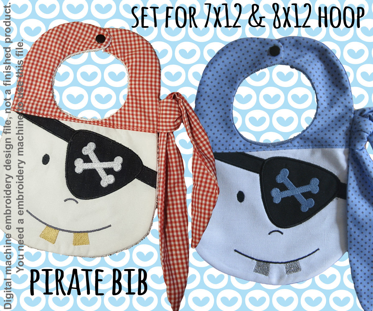 SET for 7x12 and 8x12 hoop - BIB - PIRATE - Machine Embroidery Design File, digital download - millymellydesigns