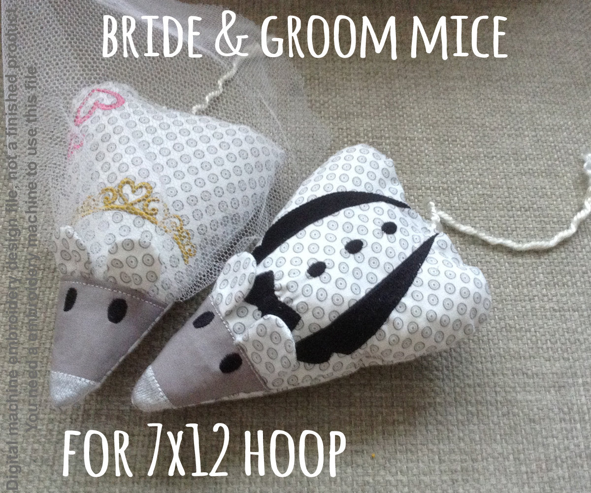 MOUSE bride and groom - 7x12 hoop - ITH - Soft toy - In The Hoop - Machine Embroidery Design File, digital download millymellydesigns