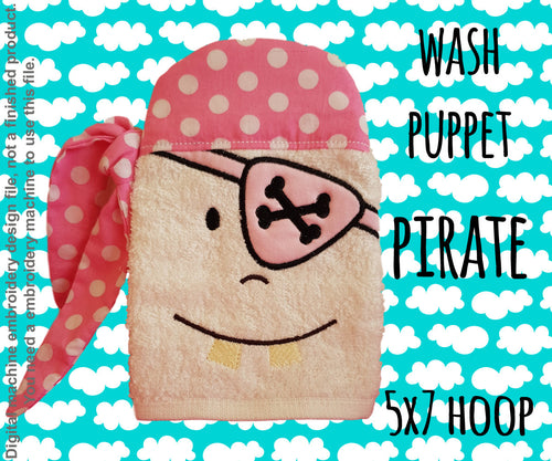 Wash Puppet - PIRATE - 5x7 hoop - ITH - In The Hoop - Machine Embroidery Design File, digital download millymellydesigns