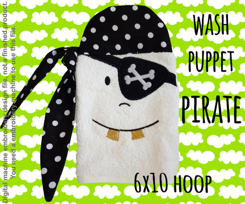 Wash Puppet - PIRATE - 6x10 hoop - ITH - In The Hoop - Machine Embroidery Design File, digital download millymellydesigns
