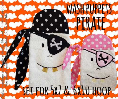 Wash Puppet - PIRATE - SET 5x7 and 6x10 hoop - ITH - In The Hoop - Machine Embroidery Design File, digital download millymellydesigns