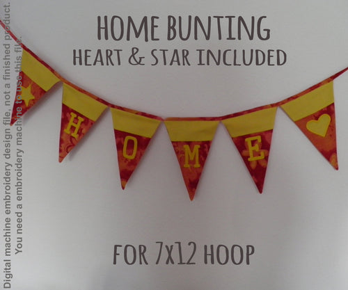 HOME bunting - 7x12 hoop - ITH - In The Hoop - Machine Embroidery Design File, digital download millymellydesigns