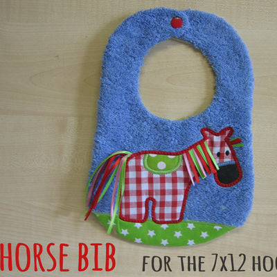 7x12 hoop - BIB - HORSE - Machine Embroidery Design File, digital download millymellydesigns