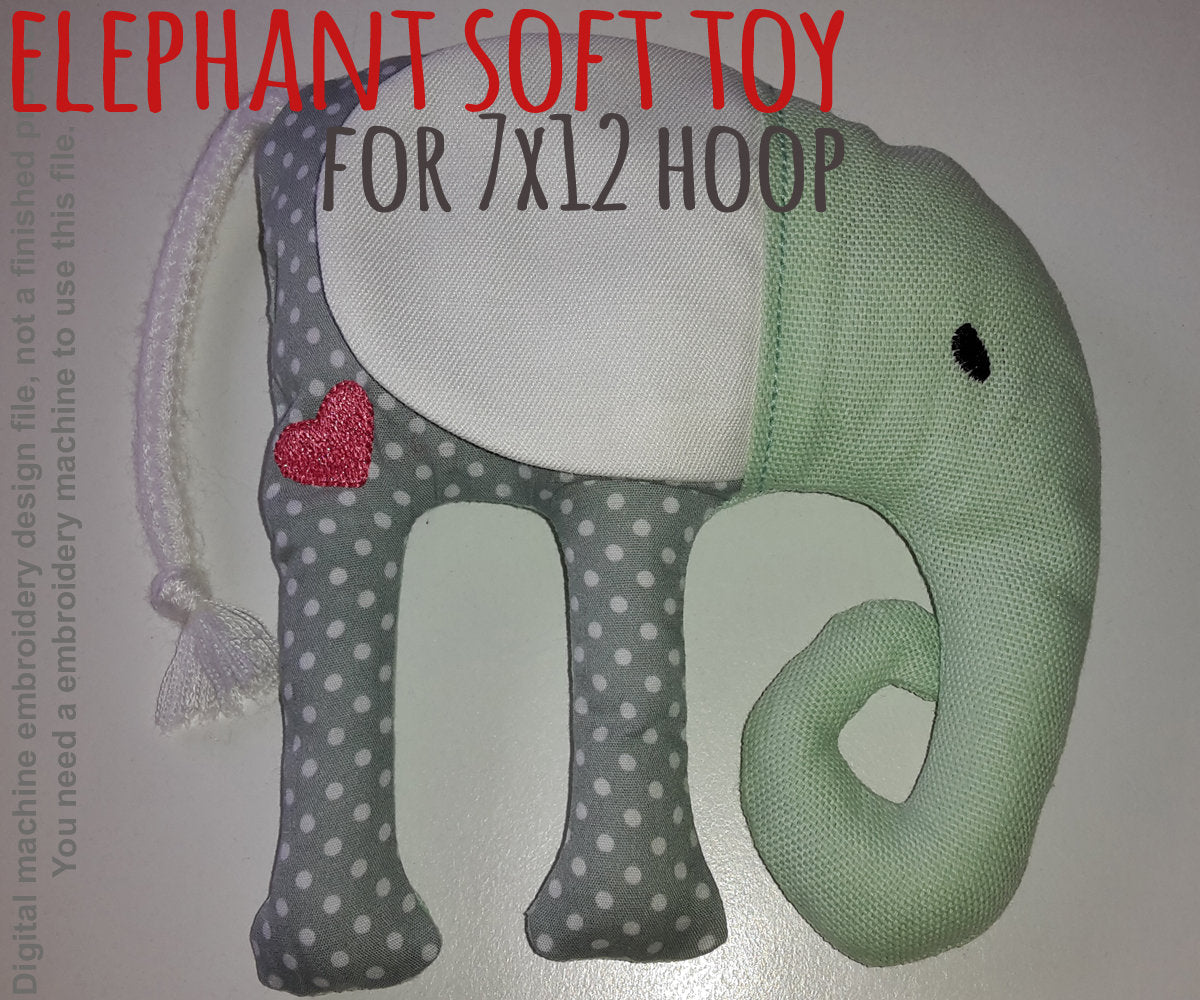 ELEPHANT softie toy - 8x8 hoop - ITH - In The Hoop - Machine Embroidery Design File, digital download millymellydesigns