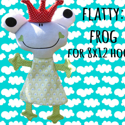 Cute FROG soft toy 8x12 hoop, ITH embroidery design, digital download millymellydesigns