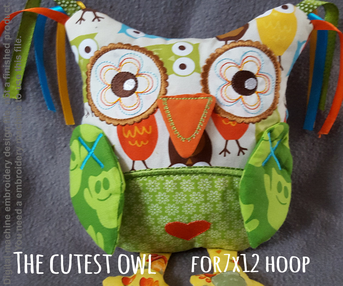 Cute OWL soft toy 7x12 hoop, ITH embroidery design, digital download millymellydesigns