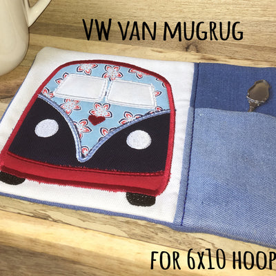 VW Van MUGRUG - ITH Embroidery Design - 6x10 hoop, Machine Embroidery Design File, digital download millymellydesigns