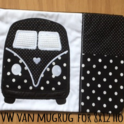 VW Van MUGRUG - ITH Embroidery Design - 8x12 hoop, Machine Embroidery Design File, digital download millymellydesigns
